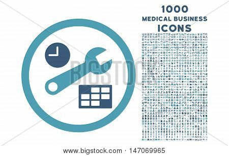 Date and Time Setup rounded vector bicolor icon with 1000 medical business icons. Set style is flat pictograms, cyan and blue colors, white background.