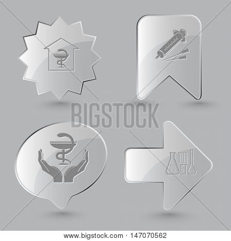 4 images: pharmacy, syringe, pharma symbol in hands, chemical test tubes. Medical set. Glass buttons on gray background. Vector icons.