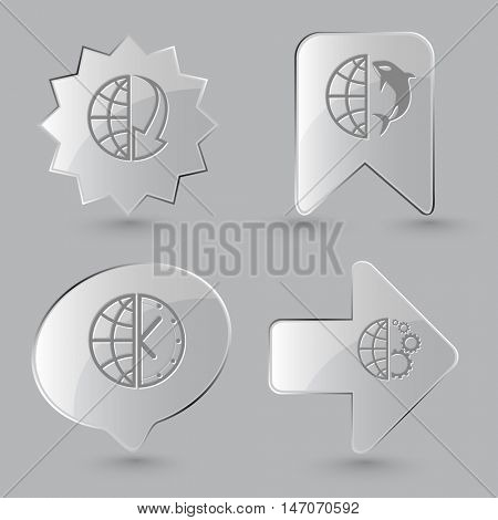 4 images: globe and array down,  and shamoo,  and clock,  and gears. Globe set. Glass buttons on gray background. Vector icons.