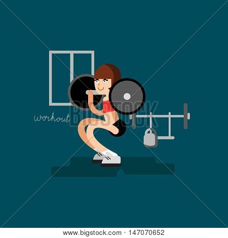 Sport woman doing workout at flat vector fitness illustration. Art have calligraphy word workout