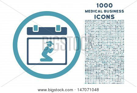 Pray Date rounded vector bicolor icon with 1000 medical business icons. Set style is flat pictograms, cyan and blue colors, white background.