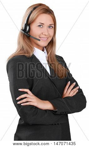 A customer service representative wearing a headset