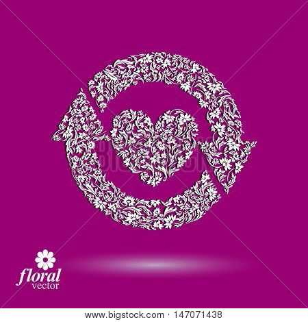 Loving heart floral illustration with update arrows beautiful romantic icon.