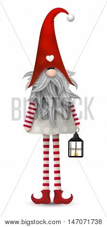 Nisser in Norway and Denmark, Tomtar in Sweden or Tonttu in Finnish, Scandinavian folklore elves, nordic traditional christmas motive, Tomte with lanternisolated on white background, vector illustration, eps 10 with transparency