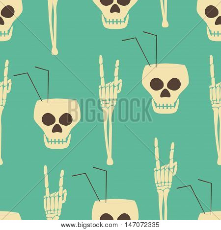 Hell party seamless pattern. Human skulls as goblets with drinking straws and skeleton hand in rock 'n' roll gesture. Halloween design print. Vector illustration for various creative projects
