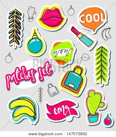 Patches hand draw, stickers collection. Fashion patch cartoon comic style.