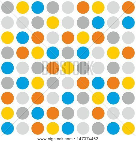 Tile vector pattern with grey, blue, orange and yellow polka dots on white background