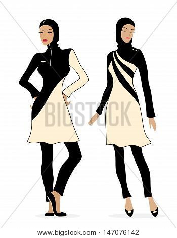 Two girls in swimsuits Islamic burkini. Illustration of Muslim fashion.