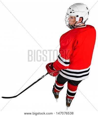 Ice Hockey Player Isolated on Transparent Background, back top view