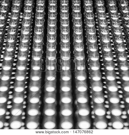 Selective focus at low position of led diode panel black and withe tone