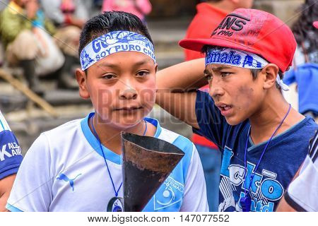 Antigua Guatemala - September 14 2015: Locals wear headbands saying
