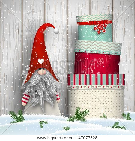 Scandinavian christmas traditional gnome Tomte standing in front of white wooden wall in snow, with stack of colorful gift boxes, vector illustration, eps 10 with transparency