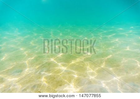 Under water shallow Seabed with sunlight reflextion