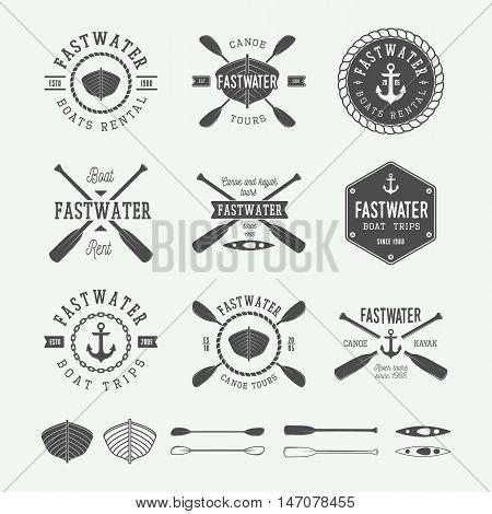 Set of vintage rafting logo labels and badges. Graphic Art. Vector illustration