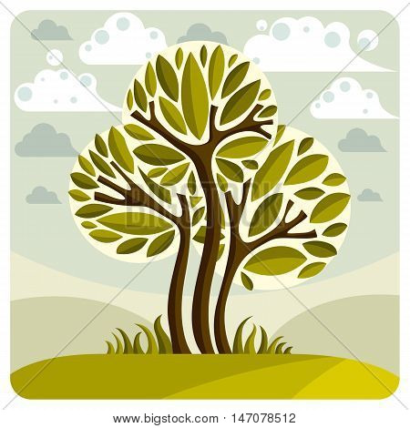Art fairy illustration of tree growing on beautiful meadow stylized eco landscape with clouds. Insight vector image on season idea spring time idyllic picture.