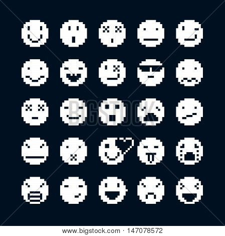 Vector flat icons collection of simple geometric pixel symbols. Simplistic faces of human beings expressing different emotions digital web signs.
