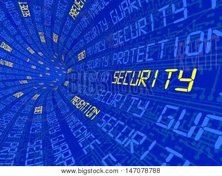 Background with the words into the distance leaving the security of privacy, etc. 3D illustration