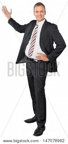 Portrait of a Businessman Showing / Presenting