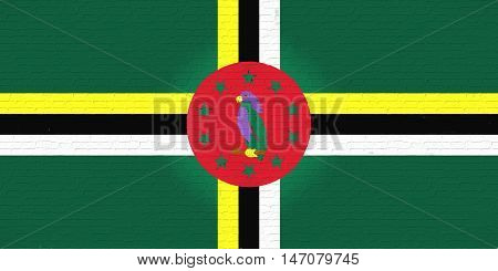 Illustration of the flag of Dominica looking like it is painted onto a brick wall