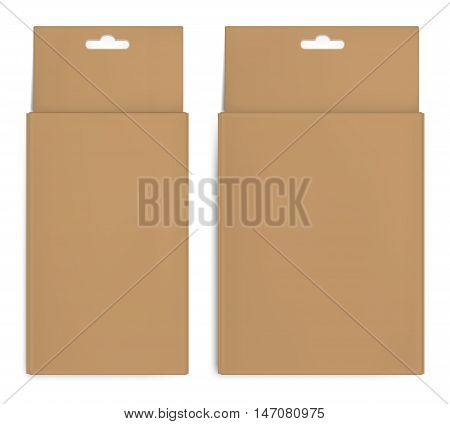 Realistic brown paper packaging box with hanging hole. Isolated on white background.