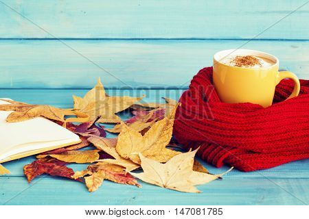 Coffee cup in a scarf and notebook over autumn leafs