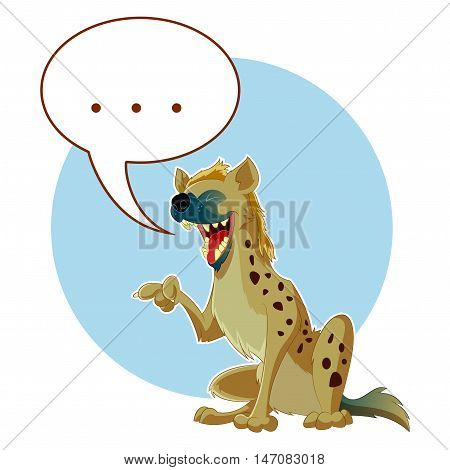 Vector image of the Cartoon Hyena and a word bubble