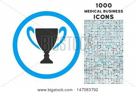 Award Cup rounded vector bicolor icon with 1000 medical business icons. Set style is flat pictograms, blue and gray colors, white background.
