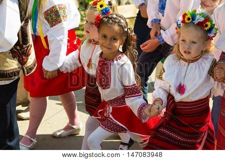 September 2016. Rakhiv Transcarpathian region Ukraine. Celebration - Festival Hutsul brynza . Colorful procession - parade of people dressed in national costumes. Children continue national traditions