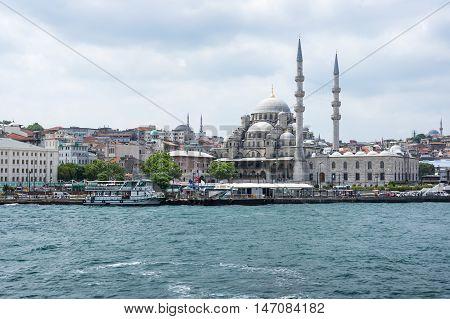 ISTANBUL TURKEY - JUNE 25 2015: View on New Mosque in Eminonu Istanbul Turkey