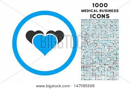Heart Favourites rounded vector bicolor icon with 1000 medical business icons. Set style is flat pictograms, blue and gray colors, white background.