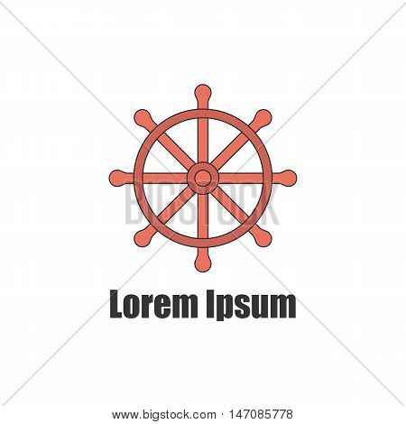 Vector illustration with flat line ship wheel. Yacht club emblem logo. Vector line background template for nautical navigation equipment design. Yachting line icon. Isolated ship wheel in flat style