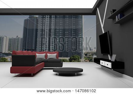 3D Rendering : Interior of High Rise Condo - red and black Sectional Sofa with little desk and television with book shelf,Modern Living Room style with Modern Furnishings