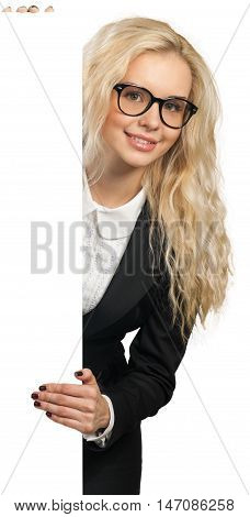 Friendly Businesswoman Standing Behind Invisible Wall - Isolated