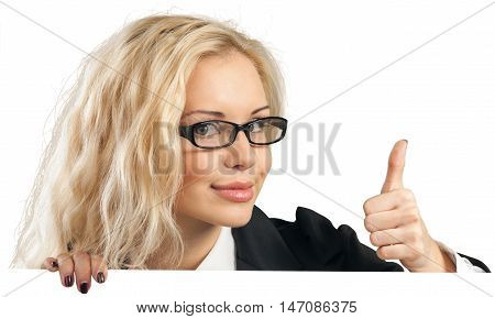 Businesswoman with Thumb Up Standing Behind Invisible Placeholder - Isolated