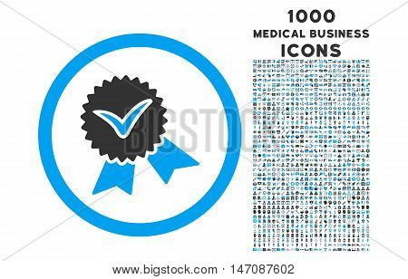 Validation Seal rounded vector bicolor icon with 1000 medical business icons. Set style is flat pictograms, blue and gray colors, white background.
