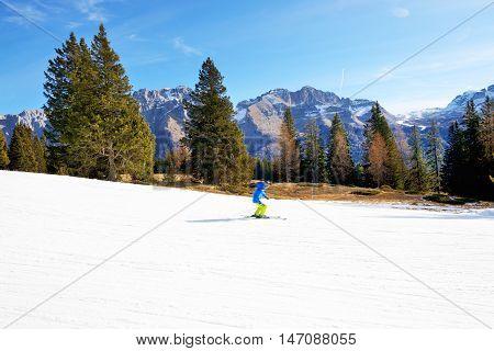 The ski and skier Madonna di Campiglio Italy.