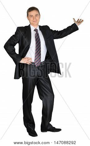 Confident Businessman Presenting Something in the Back