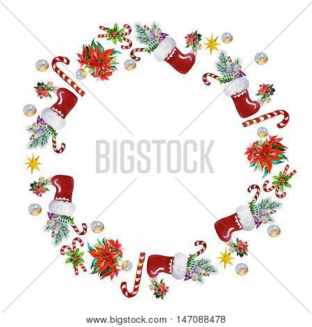 Santa's sack with gifts pattern. Holidays card for print