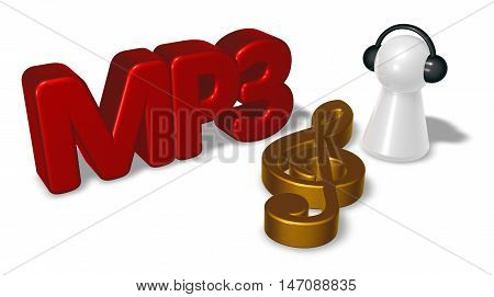 mp3 tag clef symbol and pawn with headphones - 3d rendering
