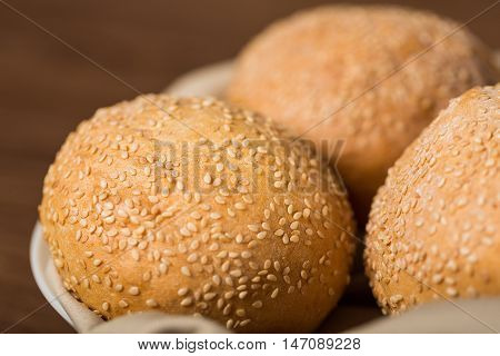 Closeup of Bread Buns with Sesame Seeds