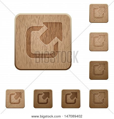 Set of carved wooden export buttons in 8 variations.