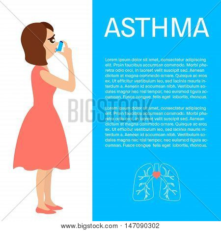 Woman using a spray inhaler to stop asthma attack. Asthma design template with place for text. Bronchial asthma awareness concept. Vector illustration.