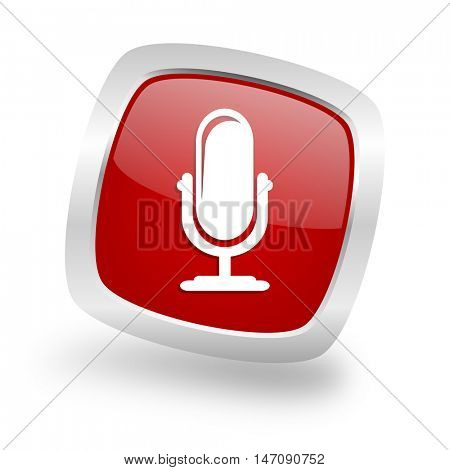 microphone square glossy red chrome silver metallic web icon