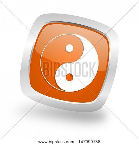 ying yang square glossy orange chrome silver metallic web icon