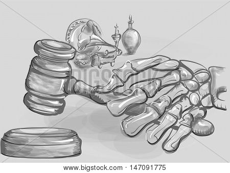 abstract auction. human skeleton holding a gavel