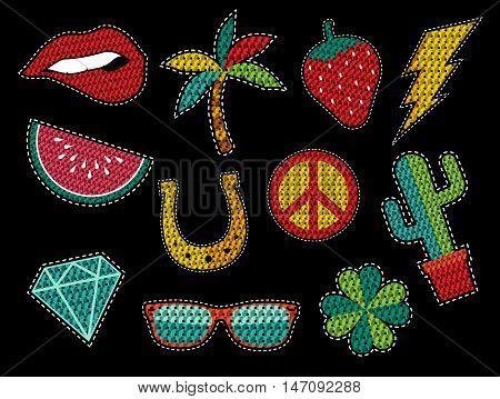 Set Of Sequin Pop Art Summer Patch Icons