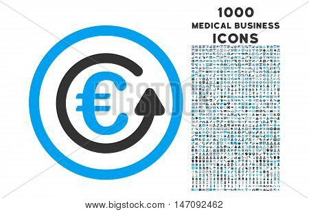 Euro Chargeback rounded vector bicolor icon with 1000 medical business icons. Set style is flat pictograms, blue and gray colors, white background.