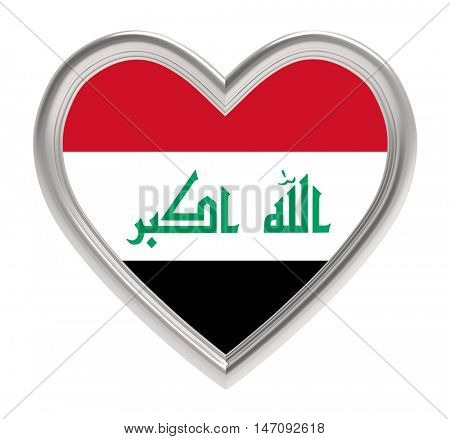 Iraqi flag in silver heart isolated on white background. 3D illustration.