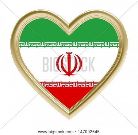Iranian flag in golden heart isolated on white background. 3D illustration.
