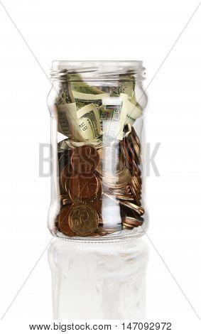Jar full of money - isolated image